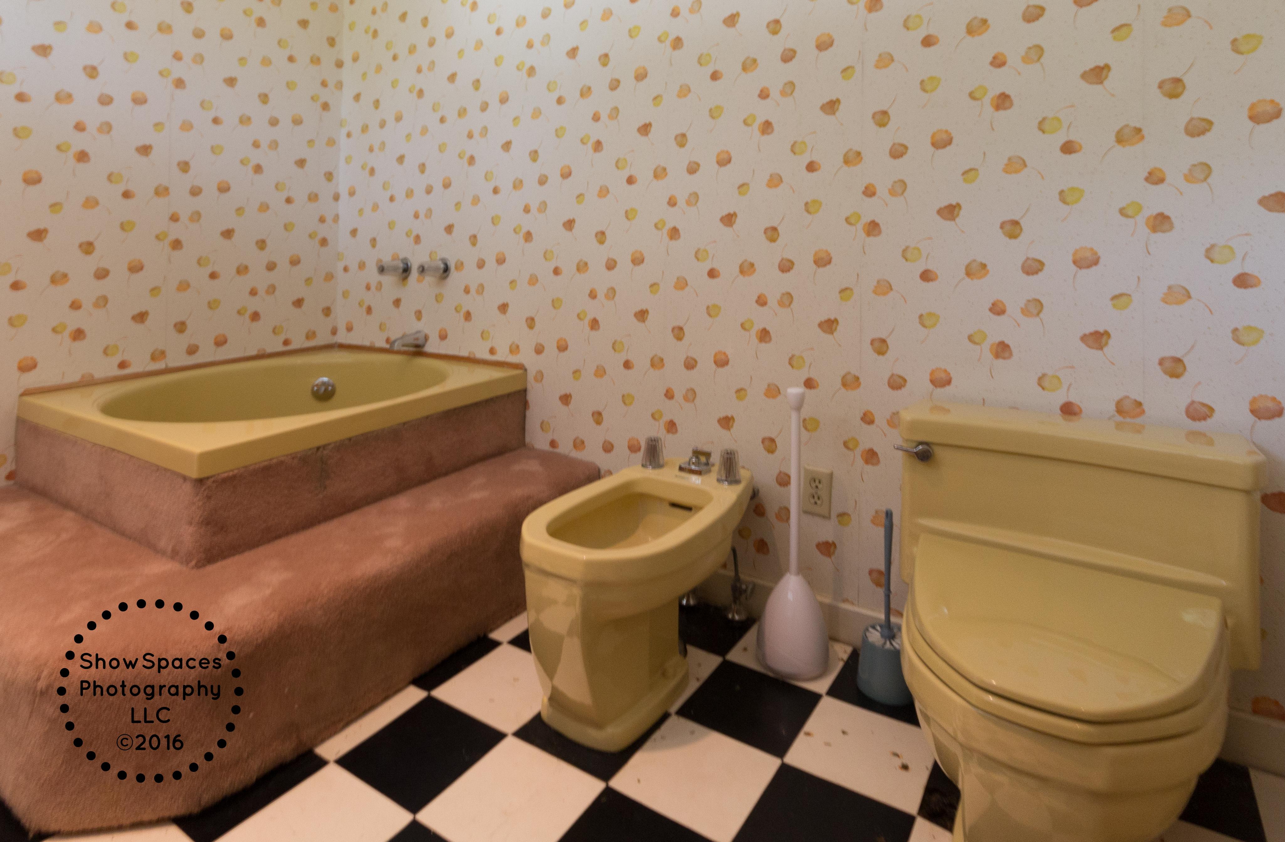 harvest gold toilet seat. master bathroom - harvest gold fixtures including carpeted steps to barrel tub, toilet and bidet seat i